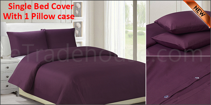 Plain Duvet Cover with Pillow Cases Non Iron Quilt Cover Single Bedding Bedroom Set