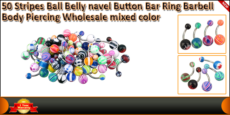 50 X Stripes Body Piercing Ball Belly Navel Button