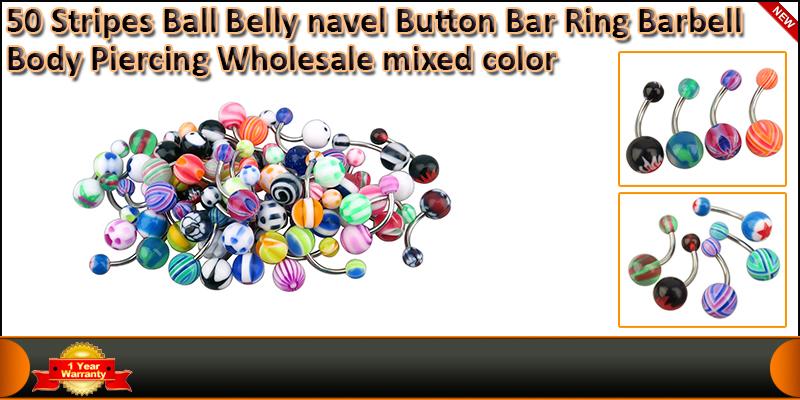 50 X Stripes Body Piercing Ball Belly Navel Button