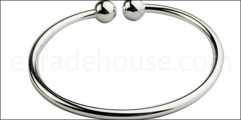 Double Bead Copper Plating Silver Bangle