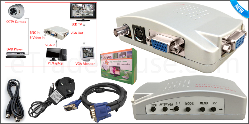 High Quality BNC Video S-Video VGA In to PC Monito