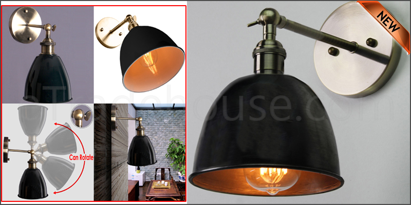 Vintage Industrial Style Bowl Sconce Loft Iron Cof