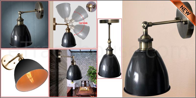 Vintage Industrial Style Bowl Sconce Loft Iron Cof