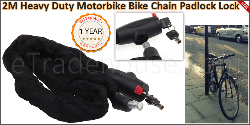 2 Meter Heavy Duty Motorbike Bike Chain Padlock Lo