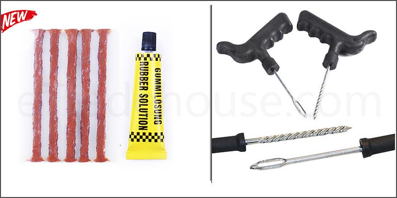 Emergency Car, Van, Motorcycle Tubeless Tyre Tire Puncture Repair Kit Tool with 5 Strip