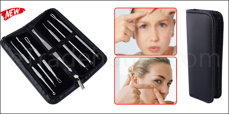 7Pcs Kit Blackhead Whitehead Pimple Spot Extractor Remover Popper Tool