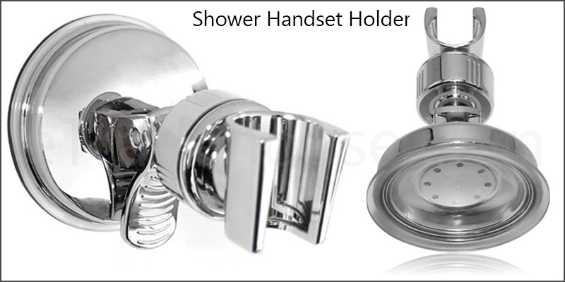 Shower Handset Holder | CHROME Bathroom Wall Mounted Adjustable Suction Bracket