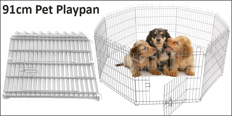 91cm Pet Play Pen Dog Puppy Cage Folding Run Fence
