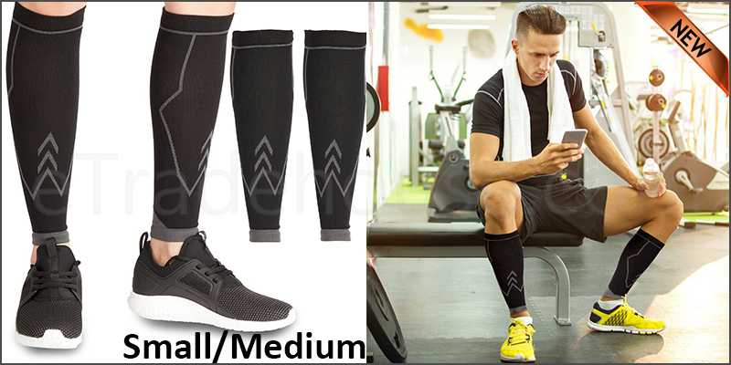 Calf Compression Socks Sleeves Shin Running Tights Foot Pain Relief Travel 12-16in(S/M)