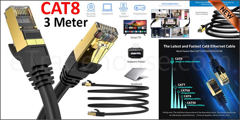 CAT8 Ethernet Network Cable 40Gbps LAN Patch Cord SSPT Gigabit Lot 3M black color
