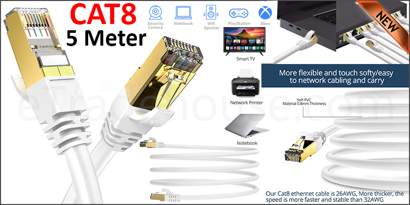 CAT8 Ethernet Network Cable 40Gbps LAN Patch Cord SSPT Gigabit Lot 5M white color