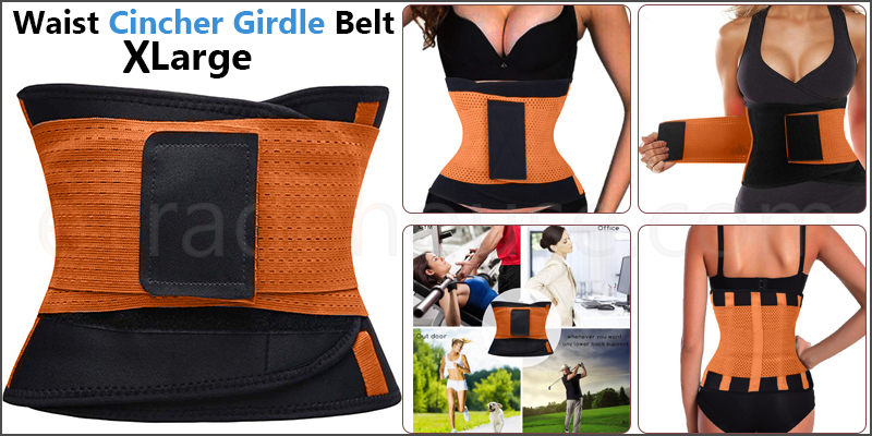 Sport Waist Cincher Girdle Belt Body Shaper Tummy Trainer Belly Training Corsets XL Orange