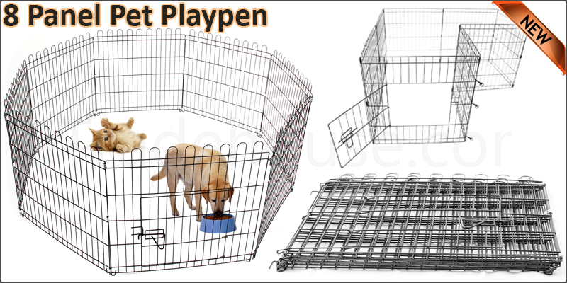 Pet Play Pen Dog Puppy Cage Folding Run Fence Guard