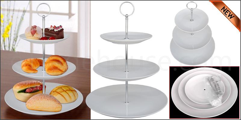 3 Layer Tier Ceramic White Round Serving Display C
