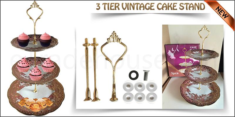 3 Tier Vintage Floral Ceramic Cake Stand