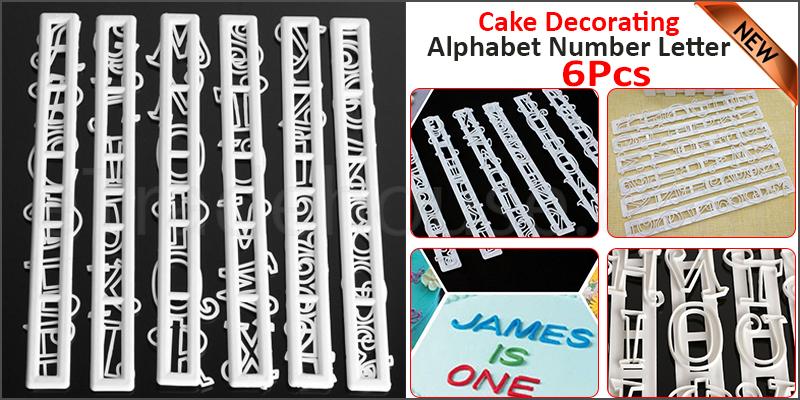 Alphabet Number Letter Cake Decorating Cutter Set Fondant Cake Mould 6PCS