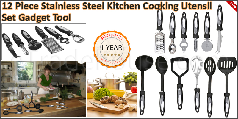 12 Piece Stainless Steel Kitchen Cooking Utensil S