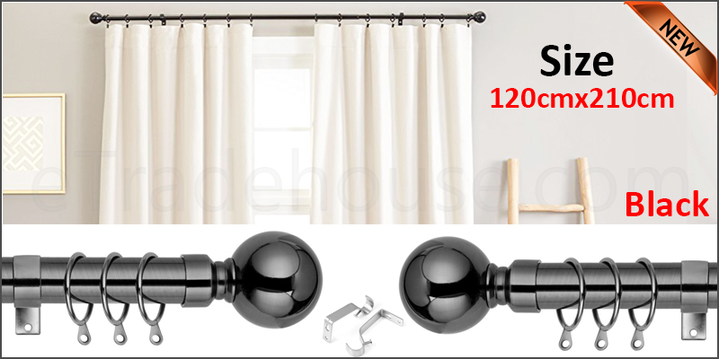 120-210cm Extendable Metal Iron Shower Curtain Rail with Brackets & Curtain Rings