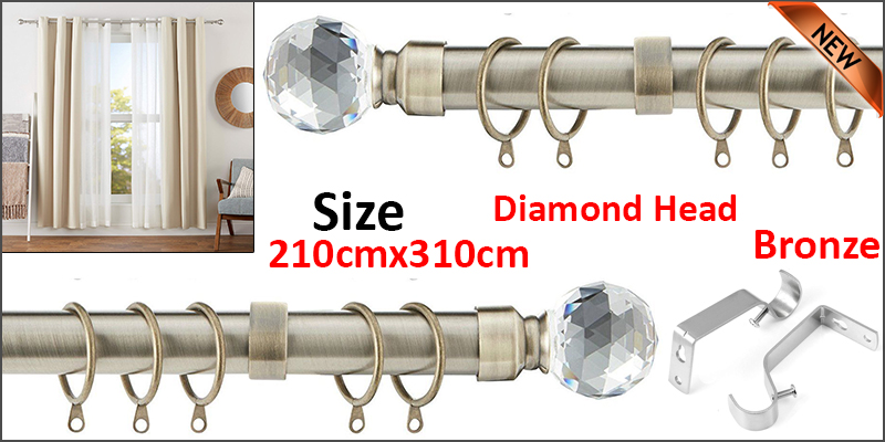 210-310cm Extendable Metal Iron Shower Curtain Rail with Brackets & Curtain Rings