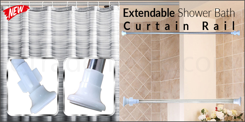 70-120cm Steel Extendable Shower Bath Curtain Rail