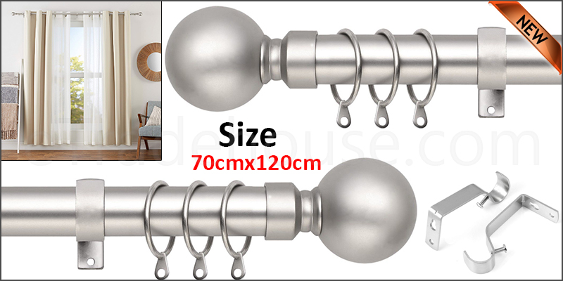 70-120cm Extendable Metal Iron Shower Curtain Rail with Brackets & Curtain Rings