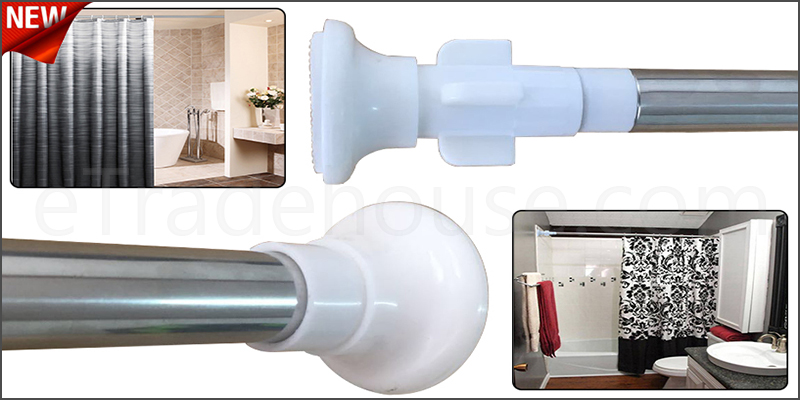 90-160cm Steel Extendable Shower Bath Curtain Rail