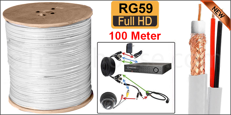 100M SHOTGUN RG59 + 2 VIDEO AND POWER CCTV CABLE LEAD WHITE COLOR  (Plastic Wheel)
