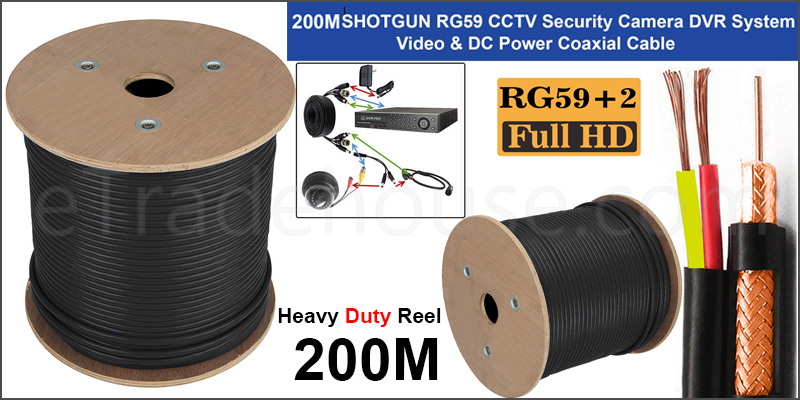 High Quality 200 Meter Shotgun RG59 Video And 2 Power CCTV Cable Lead