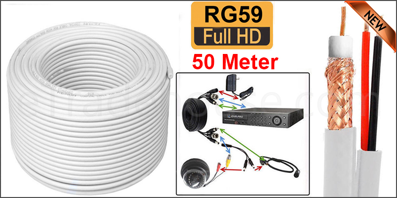 50M SHOTGUN RG59 + 2 VIDEO AND POWER CCTV CABLE LEAD WHITE COLOR