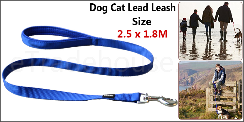 1.8 Meter Nylon Cat Dog Leash Lead Padded Handles Training Show Halter Control Obedience
