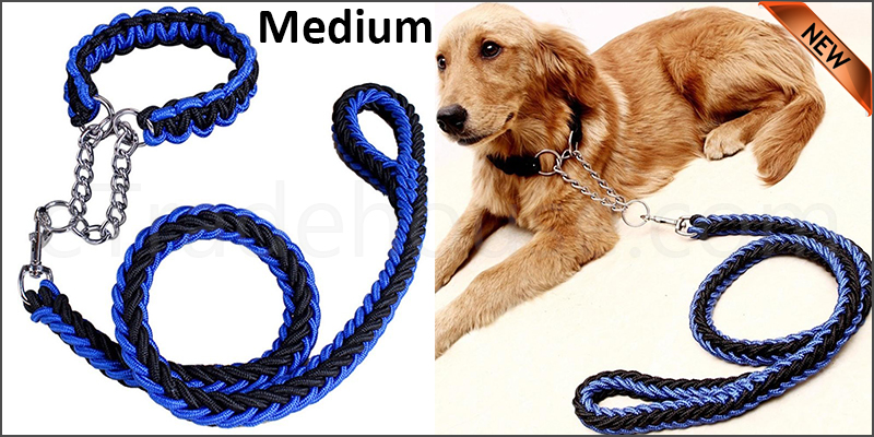 Strong Dog Pet Lead Leash Splitter Coupler with Clip Dag Chain Collar Harness Medium size