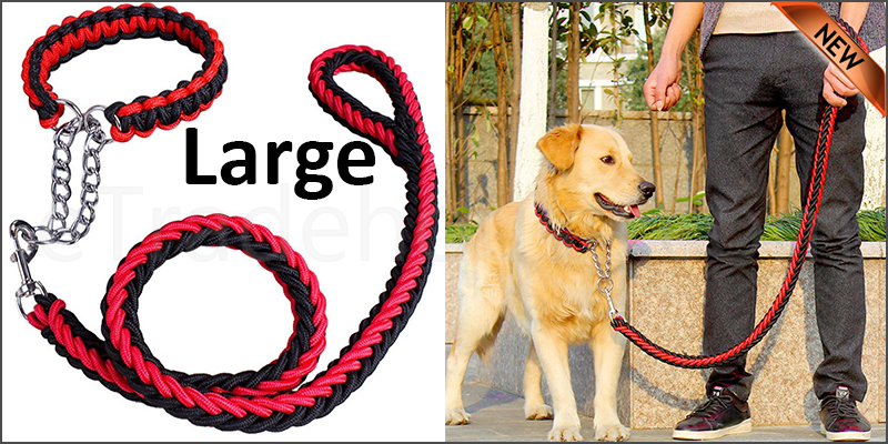 Strong Dog Pet Lead Leash Splitter Coupler with Clip Dag Chain Collar Harness Large size