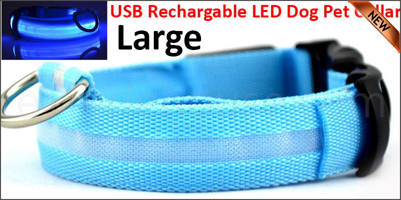 USB Rechargable LED Dog Pet Collar Flashing Luminous Safety Light Up Nylon Large Blue color