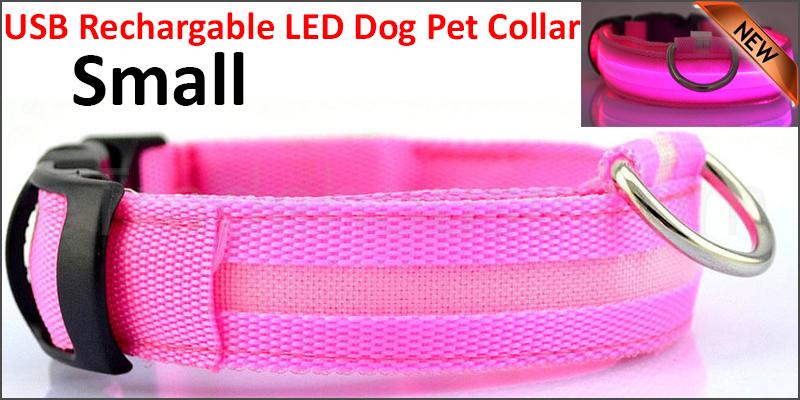 USB Rechargable LED Dog Pet Collar Flashing Luminous Safety Light Up Nylon Small pink  color