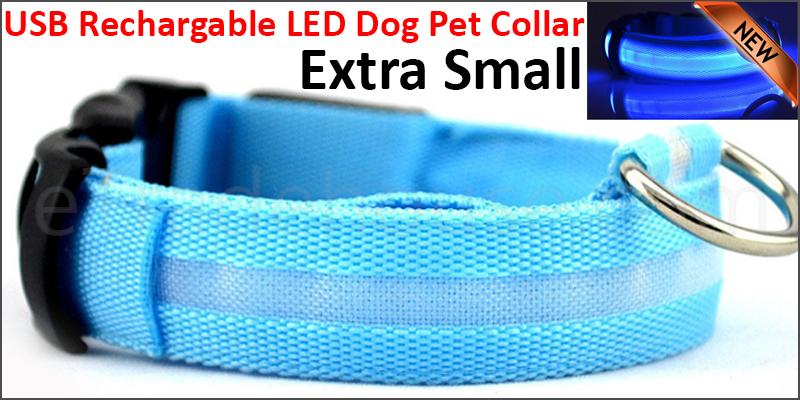 USB Rechargable LED Dog Pet Collar Flashing Luminous Safety Light Up Nylon Extra small Blue color