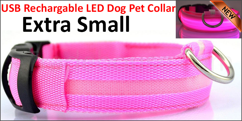 USB Rechargable LED Dog Pet Collar Flashing Luminous Safety Light Up Nylon Extra  Small pink color