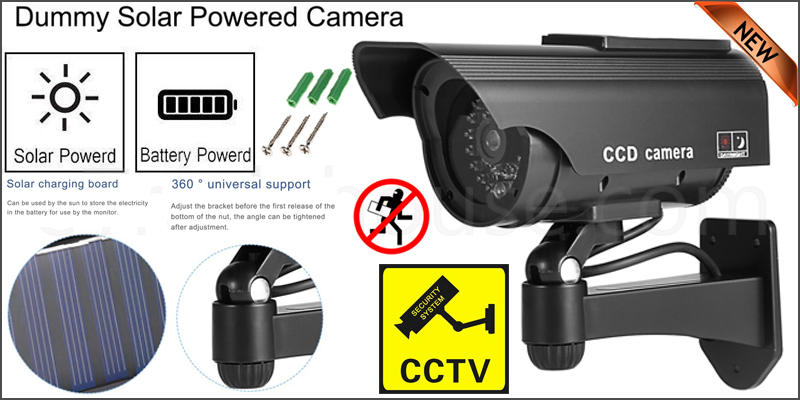 Solar Powered Dummy Surveillance CCTV Security Camera Battery Powered CCTV LED Record Light