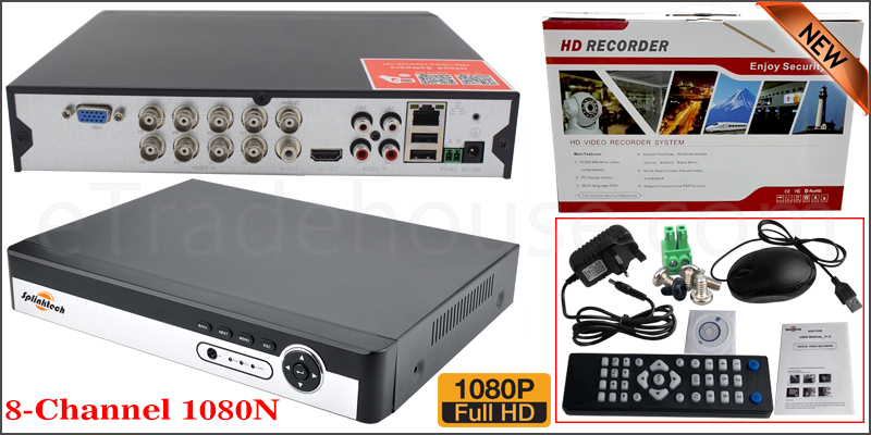 8 Channel 1080N 5 in 1 DVR XVR 3520dv300 2GB RAM 16M FLASH, 2x 2816 25FPS Play Back FPS VGA Port Mobile Software