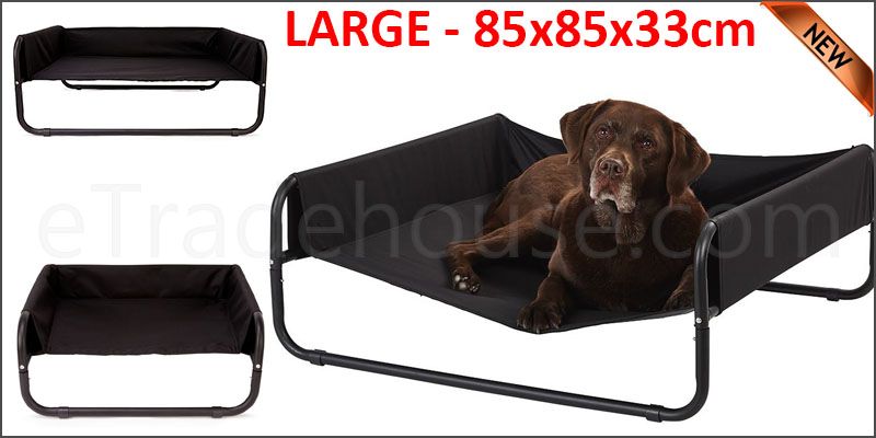Dog Pet Bed Portable Waterproof Outdoor Raised Camping Basket LARGE - 85x85x33cm.