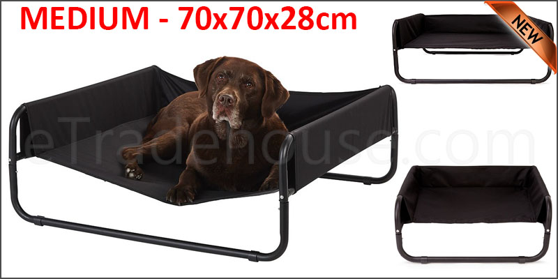 Dog Pet Bed Portable Waterproof Outdoor Raised Camping Basket       MEDIUM - 70x70x28cm.