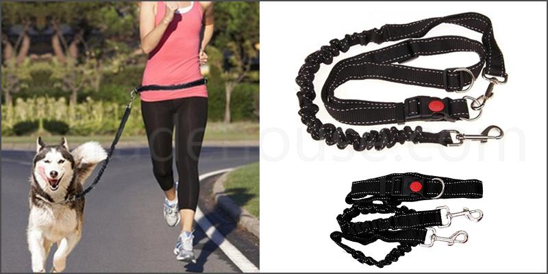 Hands Free Running Pet Dog Lead Adjustable Waist Belt Jogging Hiking Walking Leash