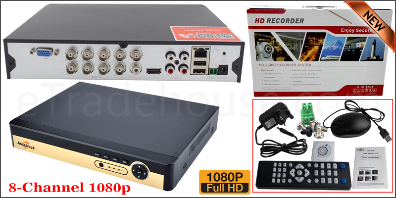 8 Channel 1080P 5 in 1 DVR XVR 3521A 4GB RAM 16M FLASH, 2x 2826 25FPS Play Back FPS VGA Port Mobile Software