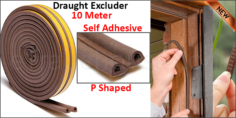 Draught Excluder Self Adhesive Rubber Door Window Seal Strip Roll Foam