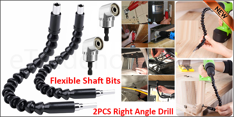 2PCS Right Angle Drill and Flexible Shaft Bits Extension Screwdriver Bit Holder