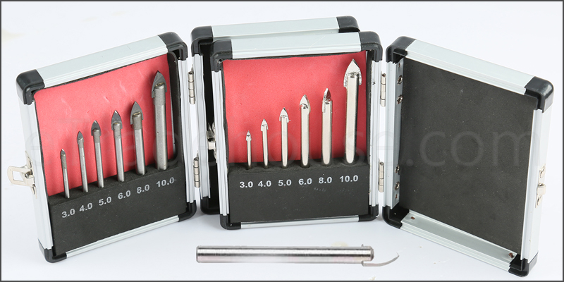 6pc Piece Glass Ceramic Tile Mirror Drill Hole Bit Set Carbon Steel with Case