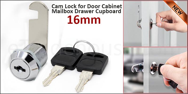 16mm Cam Lock for Door Cabinet Mailbox Drawer Cupboard + 2Keys