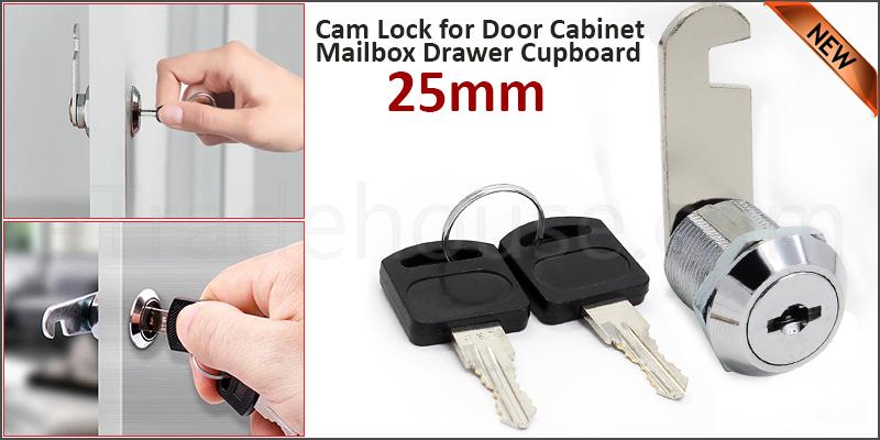 25mm Cam Lock for Door Cabinet Mailbox Drawer Cupboard + 2 Keys