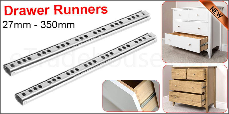 Pair of Drawer Runners 27mm-350mm Metal Groove Ball Bearing
