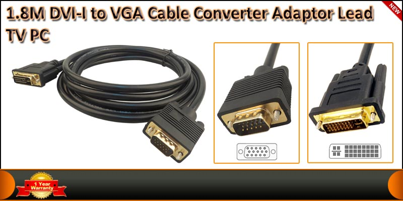 High Quality 1.8 Meter DVI-I Male to VGA Male Cabl