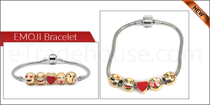18k Gold Plated 3D Emoji Fun Face Charms Bracelet